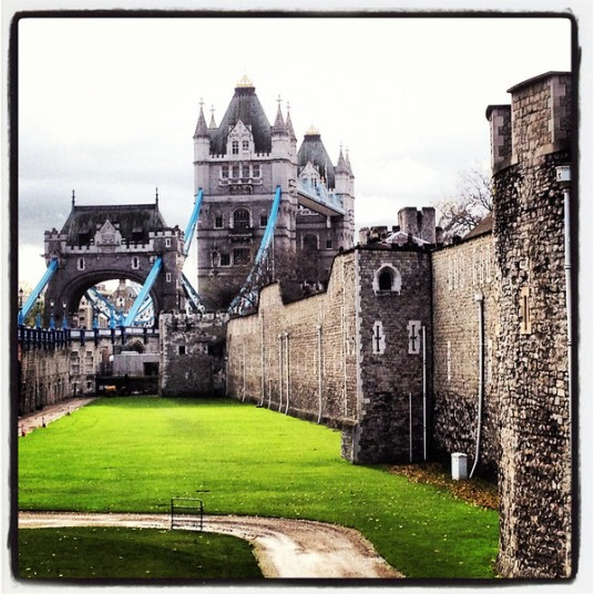 The Tower of London and Tower Bridge.