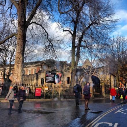 Street scene of a rainy York